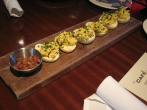 Deviled eggs, with basil!