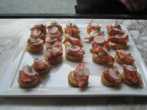 Smoked trout crostini